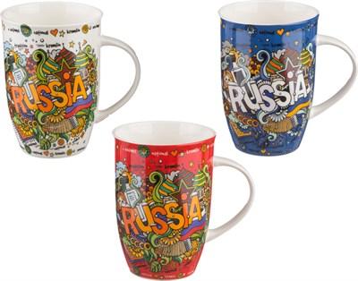 КРУЖКА RUSSIA 450 МЛ. 3 ВИДА (КОР=36ШТ.) - фото 6951