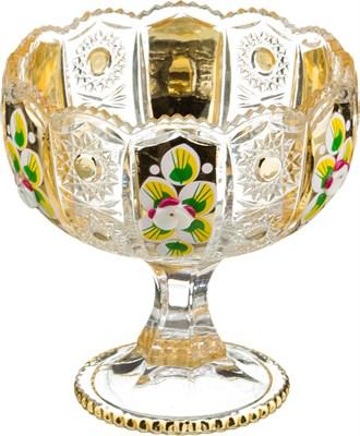 КОНФЕТНИЦА НА НОЖКЕ LEFARD GOLD GLASS ДИАМЕТР=12,5 СМ ВЫСОТА=13 СМ (КОР=24ШТ.) - фото 8343