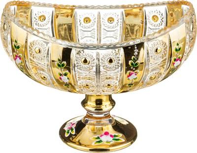 КОНФЕТНИЦА НА НОЖКЕ LEFARD GOLD GLASS 18*10,5 СМ. ВЫСОТА=14 СМ. (КОР=12ШТ.) - фото 8345