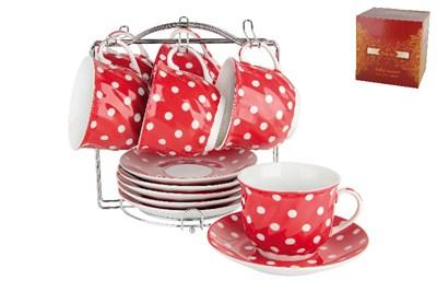 Набор чайный  6/12 м.с. ф.волна 200мл п/уп TYCS200M Красный горох - фото 37390