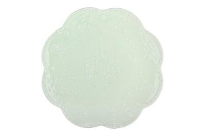 Тарелка 25см ф.круг HD-011G Бабочка светло-зеленая - фото 37853