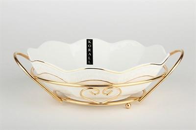 Салатник 895мл/25см на метал.подстав. ф.круг CLTBH-B0820TJ-A снежная королева/з - фото 38358