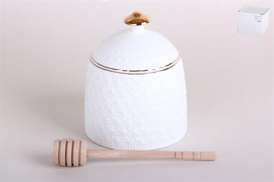 Банка для меда 380 мл с бамбуковой ложкой  LTBH-S0310-A Снежная королева - фото 38382