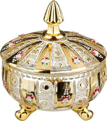 КОНФЕТНИЦА С КРЫШКОЙ LEFARD GOLD GLASS ДИАМЕТР=17 СМ. ВЫСОТА=21 СМ. (КОР=6ШТ.) - фото 8334