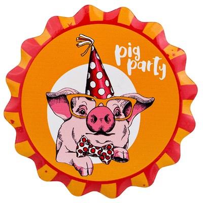 ПОДСТАВКА ПОД ГОРЯЧЕЕ С ПРОБКОВОЙ ОСНОВОЙ PIG PARTY ДИАМЕТР=11 СМ (КОР=144 ШТ.) - фото 9389