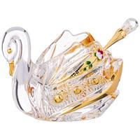 ИКОРНИЦА ЛЕБЕДЬ LEFARD GOLD GLASS 11*7 СМ. ВЫСОТА=8,5 СМ. С ЛОЖКОЙ (КОР=48ШТ.)