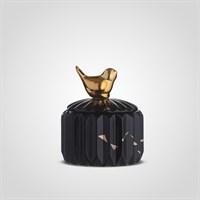 Керамическая Декоративная Черная Банка с Золотистой Птичкой S