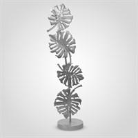Металлический Серебристый Торшер с Листьями Монстеры 140 см.