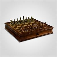 Шахматы Коричневые Подарочные с Металлическими Фигурами