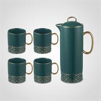 Зеленый Подарочный Керамический Набор для Чаепития: Чайник и 4 Кружки