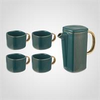 """Зеленый Подарочный Керамический Набор для Чаепития: Чайник и 4 Кружки """"Lines"""""""