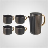 """Черный Подарочный Керамический Набор для Чаепития: Чайник и 4 Кружки """"Lines"""""""