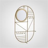 Металлическая Золотистая Ключница-Органайзер с Зеркалом Малая