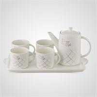 """Керамический Белый Набор для Чаепития : Поднос,Чайник, 4 Кружки  """"Love your Life"""""""
