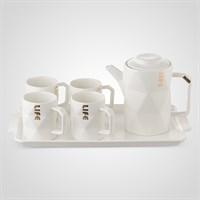 """Керамический Белый Набор для Чаепития : Поднос,Чайник, 4 Кружки """"Life"""""""