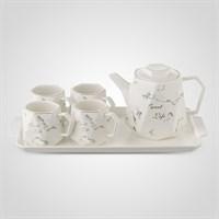 """Керамический Белый Набор для Чаепития : Поднос,Чайник, 4 Кружки """"Sweet Life"""""""