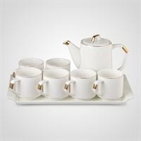 Керамический Белый Набор для Чаепития : Поднос,Чайник, 6 Кружек