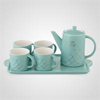 """Керамический Бирюзовый Набор для Чаепития : Поднос,Чайник, 4 Кружки  """"Love your Life"""""""