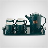 """Керамический Зеленый Набор для Чаепития : Поднос,Чайник, 4 Кружки  """"Sweet Home"""""""
