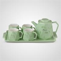 """Керамический Зеленый Набор для Чаепития : Поднос,Чайник, 4 Кружки """"Sweet Life"""""""