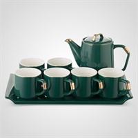 Керамический Зеленый Набор для Чаепития : Поднос,Чайник, 6 Кружек