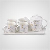 """Керамический Набор для Чаепития : Поднос,Чайник, 4 Кружки """"Мрамор"""""""