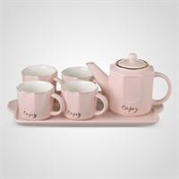 """Керамический Розовый Набор для Чаепития : Поднос,Чайник, 4 Кружки """"Enjoy"""""""
