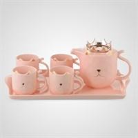 """Керамический Розовый Набор для Чаепития : Поднос,Чайник, 4 Кружки """"Kitty"""""""