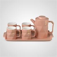 """Керамический Розовый Набор для Чаепития : Поднос,Чайник, 4 Кружки """"Life"""""""