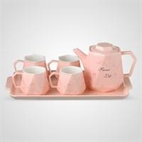 """Керамический Розовый Набор для Чаепития : Поднос,Чайник, 4 Кружки """"Sweet Life"""""""