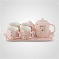 """Керамический Розовый Набор для Чаепития : Поднос,Чайник, 4 Кружки """"Мрамор"""""""