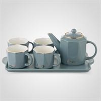 """Керамический Серо-Голубой Набор для Чаепития : Поднос,Чайник, 4 Кружки """"Enjoy"""""""