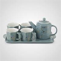 """Керамический Серо-Голубой Набор для Чаепития : Поднос,Чайник, 4 Кружки """"Мрамор"""""""