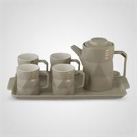 """Керамический Серый Набор для Чаепития : Поднос,Чайник, 4 Кружки """"Life"""""""