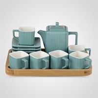 Керамический Синий Набор для Чаепития : Деревянный Поднос,Чайник, 6 чайных пар