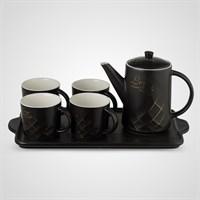 """Керамический Черный Набор для Чаепития : Поднос,Чайник, 4 Кружки  """"Love your Life"""""""