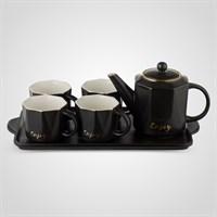 """Керамический Черный Набор для Чаепития : Поднос,Чайник, 4 Кружки """"Enjoy"""""""