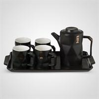 """Керамический Черный Набор для Чаепития : Поднос,Чайник, 4 Кружки """"Life"""""""