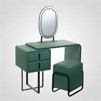 Набор Стол, Тумбочка, Пуф, Зеркало с Подсветкой Зеленый