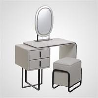 Набор Стол, Тумбочка, Пуф, Зеркало с Подсветкой Светло-Серый