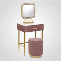 """Набор Туалетный Столик, Пуф, Зеркало с Подсветкой """"Розовый Бархат"""" Большой"""