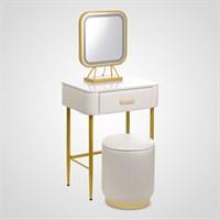 Набор Туалетный Столик, Пуф, Зеркало с Подсветкой Белый Большой
