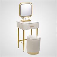 Набор Туалетный Столик, Пуф, Зеркало с Подсветкой Белый Малый