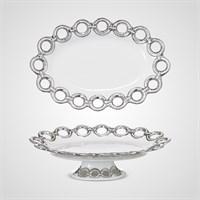 """Тортница Овальная """"Silver Rings"""" M (Фарфор)"""