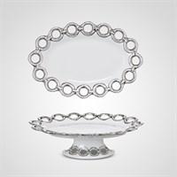 """Тортница Овальная """"Silver Rings"""" S (Фарфор)"""