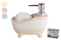 Дозатор для жидкого мыла+губка 1/2 микс 15х15х8CM  KR751