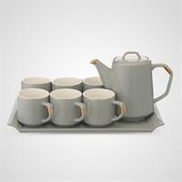 Керамический Серый Набор для Чаепития : Поднос,Чайник, 6 Кружек