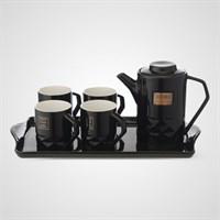 """Керамический Черный Набор для Чаепития : Поднос,Чайник, 4 Кружки  """"Sweet Home"""""""