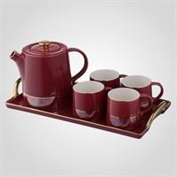 Бордовый Керамический Набор для Чайной Церемонии с Подносом
