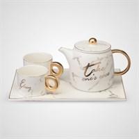 Керамический Набор для Чаепития на 2 Персоны Белый